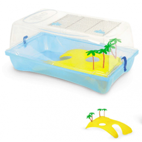 Kleo Turtle Box Tartarughiera con Isola in plastica
