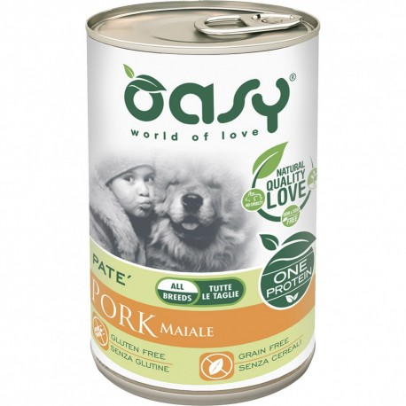 Oasy One Protein Adult All Breed Maiale Patè Monoproteico Lattina 400 g per Cane