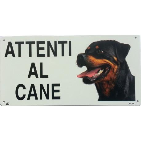 Cartello Attenti al Cane Rottweiler in metallo