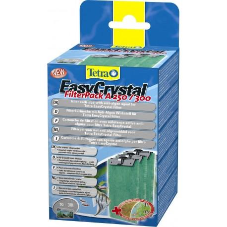 Tetra EasyCrystal Filter Pack A 250/300 10-30lt con agente ANTIALGHE per acquari