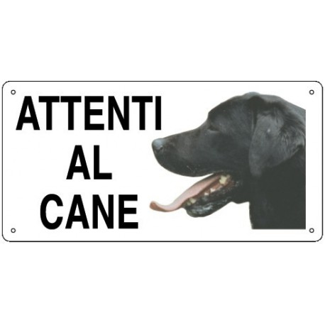 Cartello Attenti al Cane Labrador in metallo