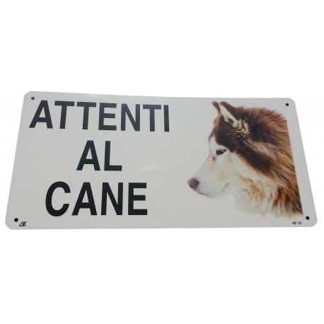 Cartello Attenti al Cane Siberian Husky in metallo