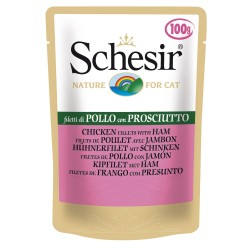 Schesir Cat Buste Soft Jelly Filetti di Pollo con Prosciutto 100 gr per Gatti
