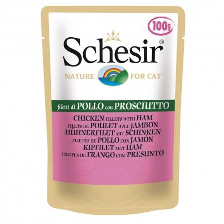 Schesir Cat Buste Soft Jelly Filetti di Pollo con Prosciutto 100 gr