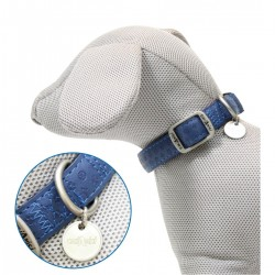 Collare Mylord in similpelle Blu mm 25 x 48-70 cm per cane