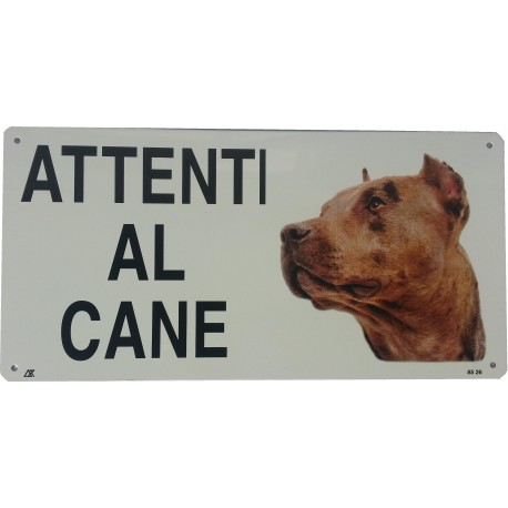 Cartello Attenti al cane PITBULL in metallo