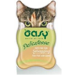 Oasy Delicatesse Patè con Selvaggina 85 gr Alimento Umido in Vaschetta per Gatti