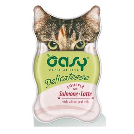 Oasy Delicatesse Soufflè con Salmone e Latte 85 gr Alimento Umido in Vaschetta per Gatti