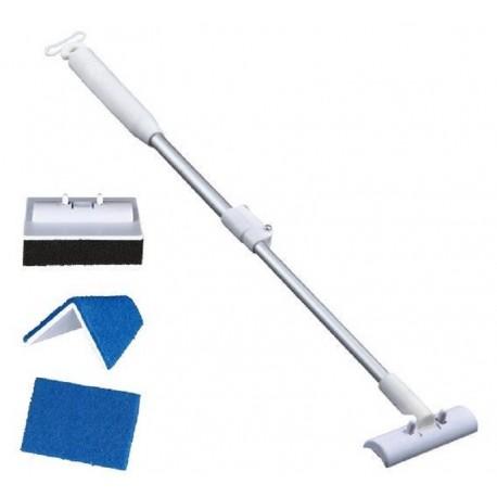 Trixie Kit di pulizia per vetro acquario con asta telescopica da 42 a 60 cm