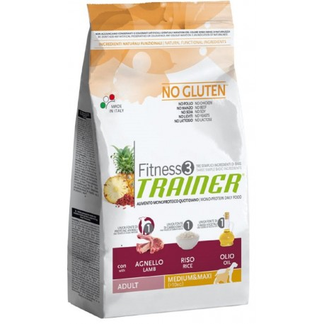 Trainer Fitness 3 Adult Medium/Maxi No Gluten Agnello 3 kg