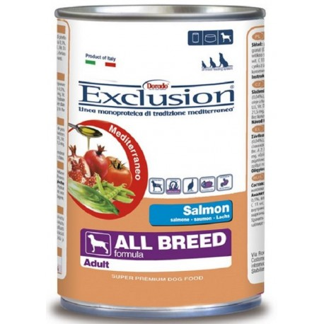 Exclusion Mediterraneo Adult Salmone 400 gr Umido