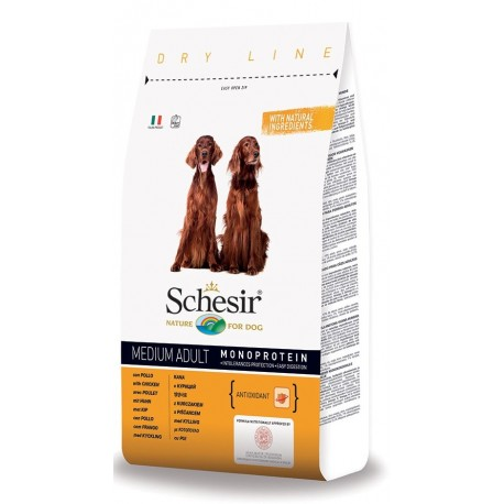 Schesir Dog Medium Adult Monoproteico con Pollo 12 kg Crocchette per Cani