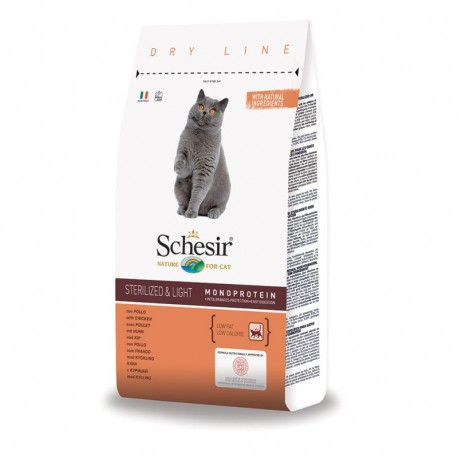 Schesir Cat Dry Sterilized & Light con Pollo 1,5Kg Crocchette per gatti
