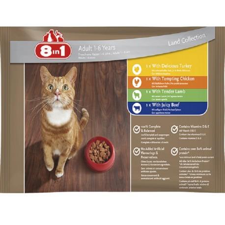 8in1 Collezione di Terra Cibo umido in bustine per gatto 4 x100 gr