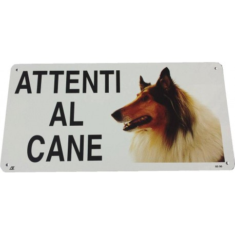 Cartello Attenti al Cane Collie in metallo