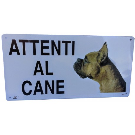Cartello Attenti Al Cane Boxer in metallo