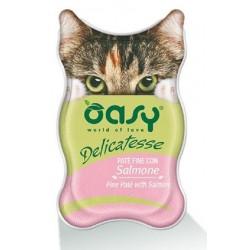 Oasy Delicatesse Patè con Salmone 85 gr Alimento Umido in Vaschetta per Gatti