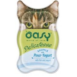 Oasy Delicatesse Soufflè con Pesce e Yogurt 85 gr Alimento Umido in Vaschetta per Gatti