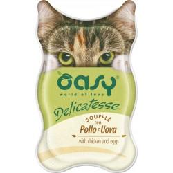 Oasy Delicatesse Soufflè con Pollo e Uova 85 gr Alimento Umido in Vaschetta per Gatti