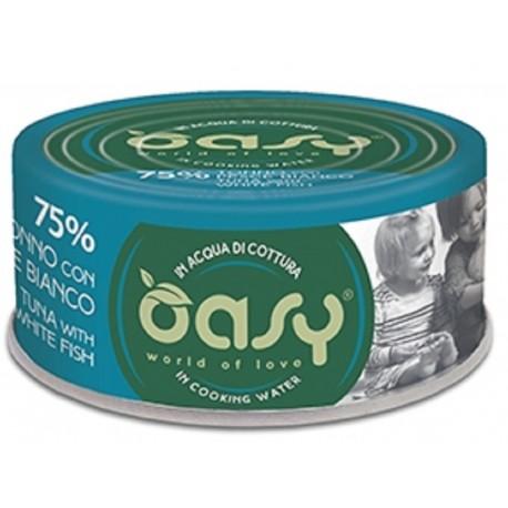 Oasy More Love 75% Tonno con Pesce Bianco in acqua di cottura 70 g