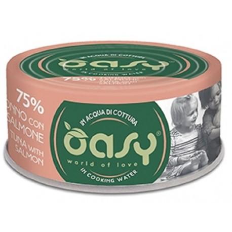 Oasy More Love 75% Tonno con Salmone in acqua di cottura 70 g