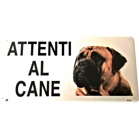 Cartello Attenti al Cane Bullmastiff in metallo