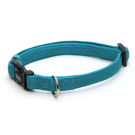 Collare Nylon Soft Reflective 15 mm Turchese per Cani