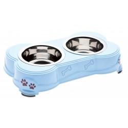 Porta Ciotola decorato Azzurro con 2 ciotole incluse per cane e gatto cm 13