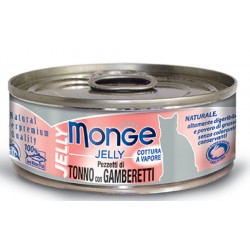 Monge Pezzetti di Tonno con Gamberetti in gelatina per gatto gr 80