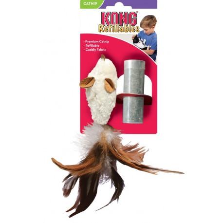 Kong Refillables Feather Mouse NM42 Gioco Topo con Piume ed Erba Gatto
