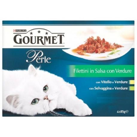 Gourmet Perle 4 x 85 gr Filettini in Salsa con Verdure con vitello e selvaggina