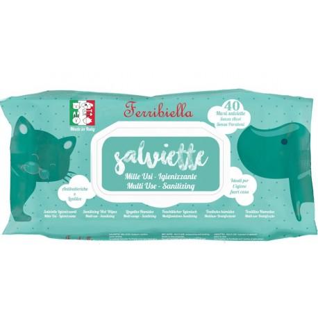 Ferribiella 40 Maxi Salviette Igienizzanti alla Clorexidina per Cane e Gatto