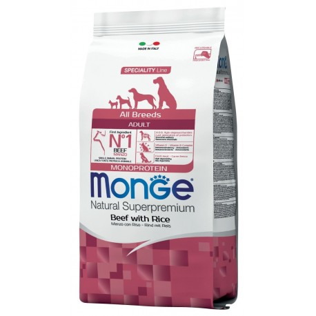 Monge All Breeds Adult Manzo e Riso 12 kg Crocchette Monoproteiche per Cane