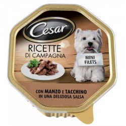 Cesar Ricette di Campagna con Manzo e Tacchino in Salsa Cibo per Cane