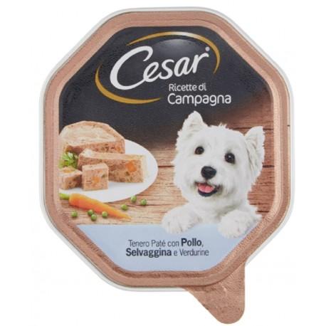 Cesar Ricette di Campagna Patè con Pollo Selvaggina e Verdure Cibo per Cane