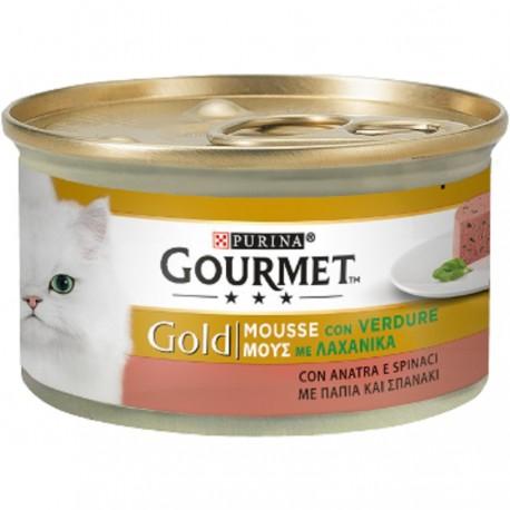 Gourmet Gold Mousse con verdure Anatra e Spinaci 85 gr per Gatti
