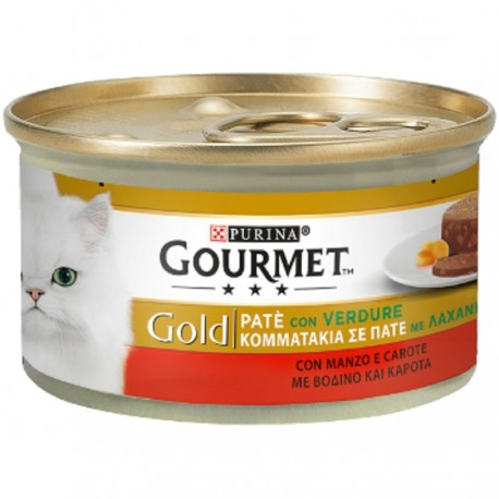 Gourmet Gold Patè con Verdure con Manzo e Carote per Gatti