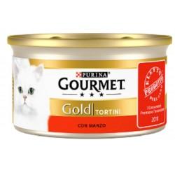 Gourmet Gold Tortini con Manzo Cibo Umido per Gatti