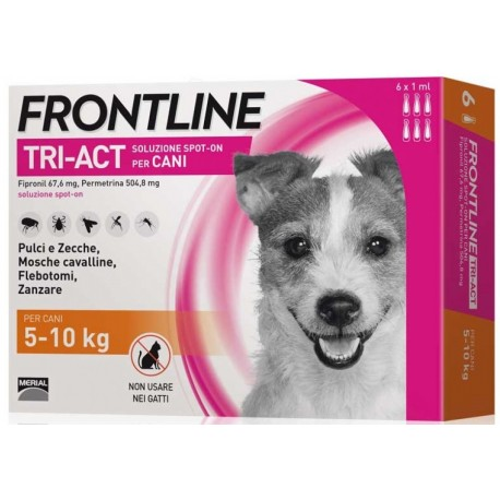 Frontline Tri Act 5-10 Kg Antiparassitario per Cani 6 fiale