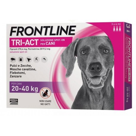 Frontline Tri Act 20-40 Kg Antiparassitario per Cani 3 fiale