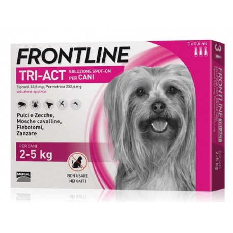Frontline Tri Act 2-5 Kg Antiparassitario per Cani 3 fiale