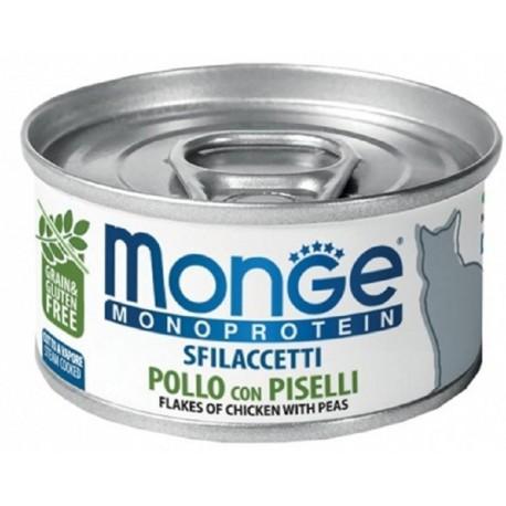 Monge Monoprotein Sfilaccetti Pollo con Piselli Cibo per Gatto 80 gr