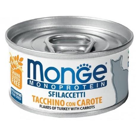Monge Monoprotein Sfilaccetti Tacchino con Carote Cibo per Gatto 80 gr