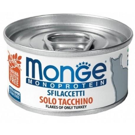 Monge Monoprotein Sfilaccetti solo Tacchino Cibo per Gatto 80 gr