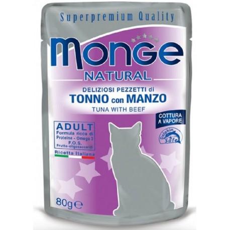 Monge Natural Superpremium in Bustina 80 gr Pezzetti di Tonno con Manzo per Gatto