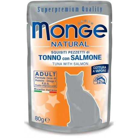 Monge Natural Superpremium in Bustina 80 gr Pezzetti di Tonno con Salmone per Gatto