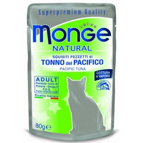 Monge Natural Superpremium in Bustina 80 gr Pezzetti di Tonno del Pacifico per Gatto