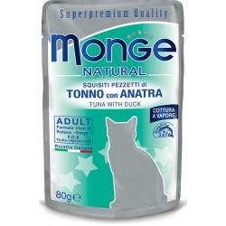 Monge Natural Superpremium in Bustina 80 gr Pezzetti di Tonno con Anatra per Gatto