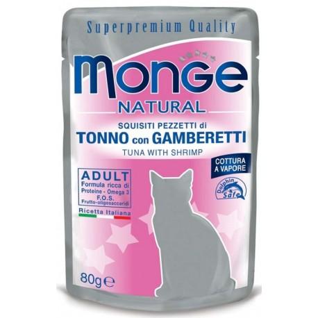 Monge Natural Superpremium in Bustina 80 gr Pezzetti di Tonno con Gamberetti per Gatto