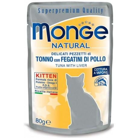 Monge Natural Superpremium Kitten in Bustina 80 gr Pezzetti di Tonno con fegatini di pollo per Gatto